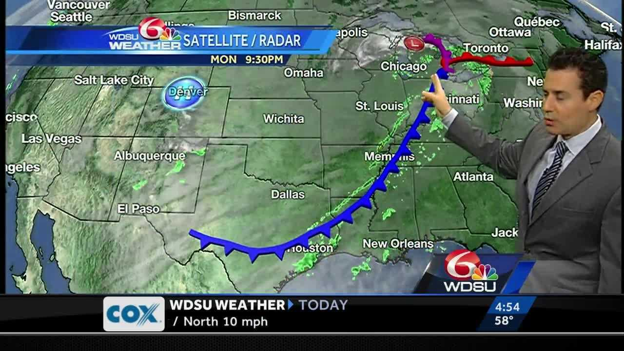 A passing cold front will bring showers, storms and cooler temperatures.