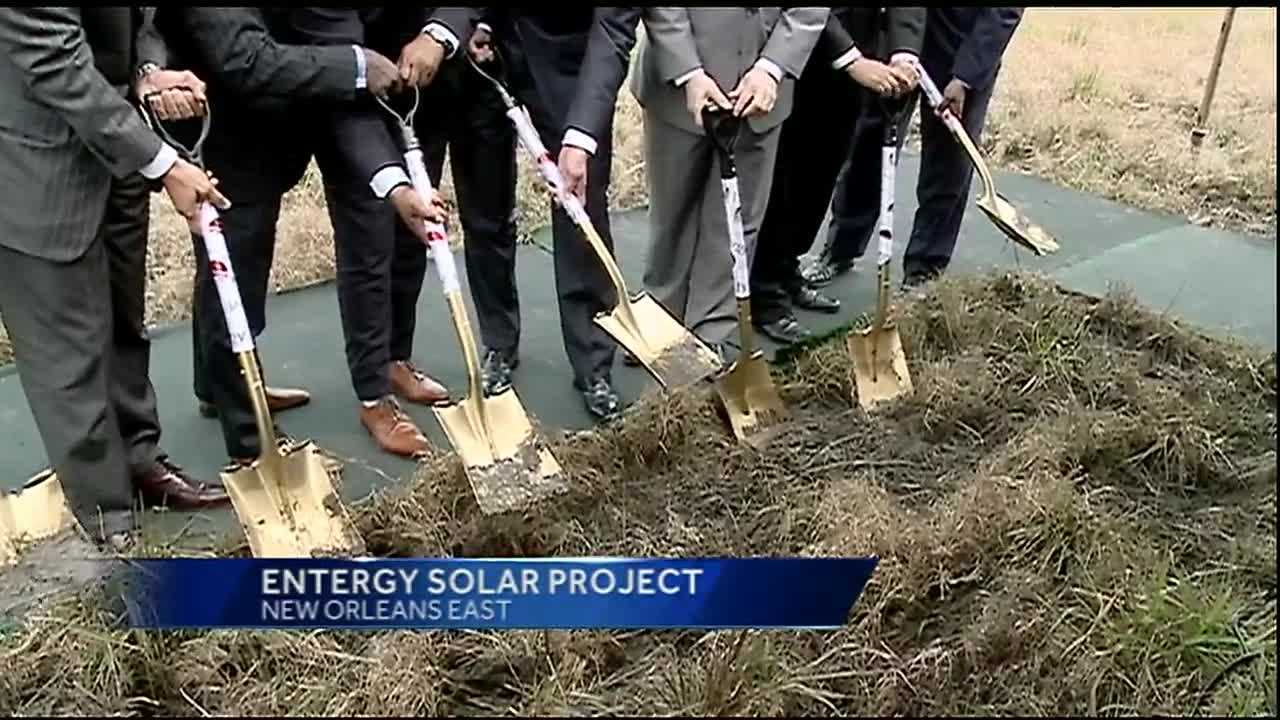 Entergy and various New Orleans officials and community leaders gathered Tuesday in New Orleans East to break ground on the city's first utility-scale solar project.