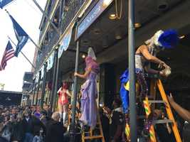 On the Friday before Mardi Gras, the annual Greasing of the Poles happens in the French Quarter. The grease is to keep revelers from climbing the galleries in the Vieux Carré.