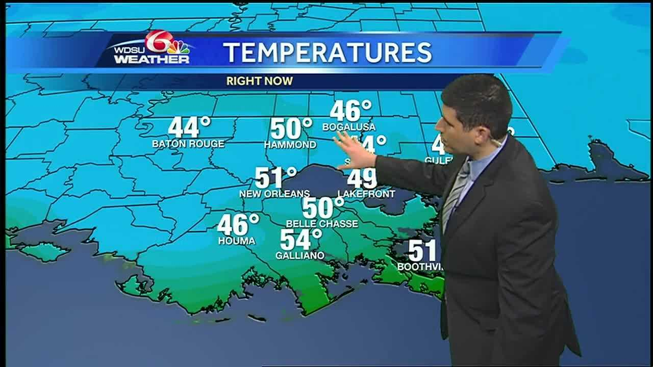 Expect highs in the mid 50s this afternoon with mainly dry conditions.  Another cold blast arrives in time for Mardi Gras Day.