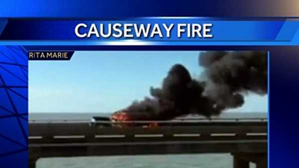 A multi-vehicle accident and fire closed the Lake Pontchartrain Causeway (southbound) Friday afternoon