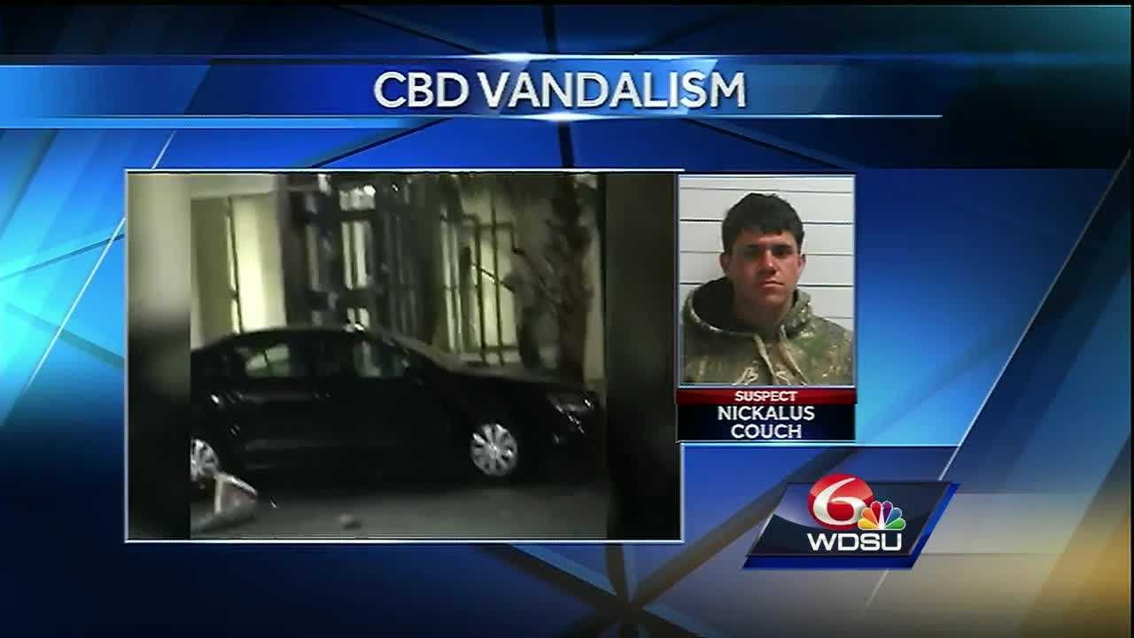 One man is behind bars accused of ripping through downtown New Orleans and vandalizing cars, buildings and more.