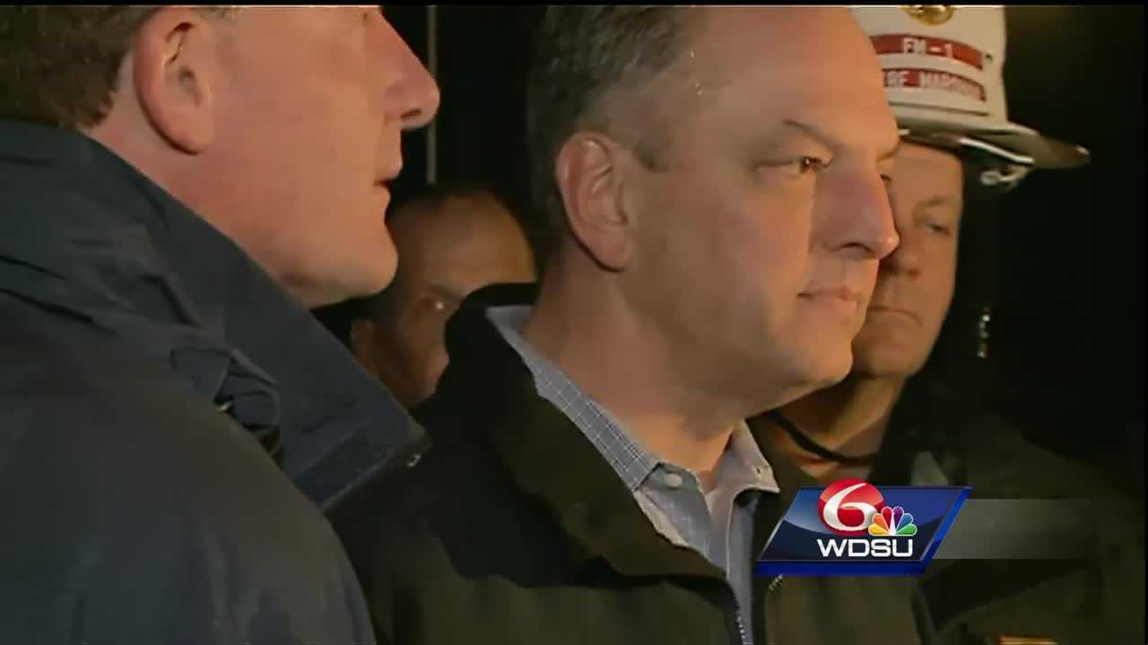 Gov. Edwards joined local authorities Tuesday night to give an update on the storm damage in Convent.