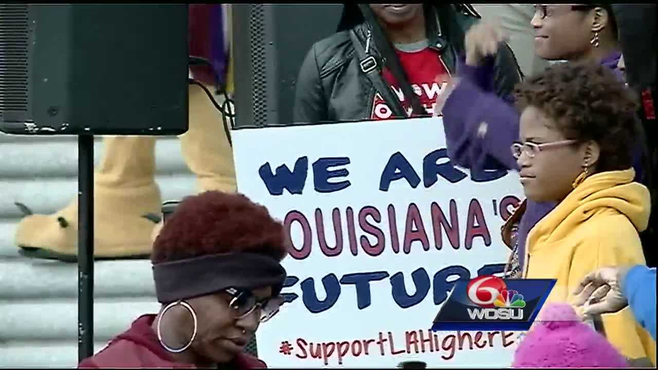 Thousands of students and administrators from public schools across the state traveled up to Baton Rouge to protest against increased budget cuts and send a message to legislators.