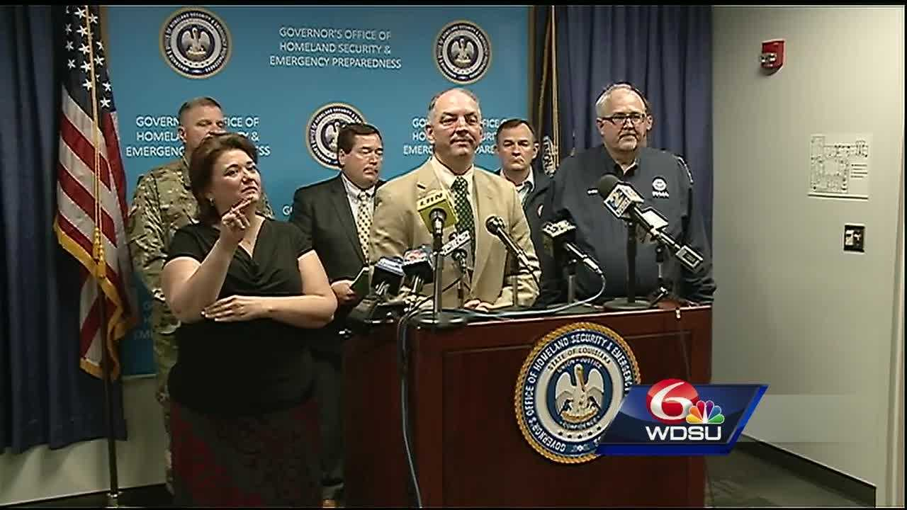 "Gov. John Bel Edwards says the severe storms that battered Louisiana are a ""record-breaking flood event"" that inundated places that have never flooded before."