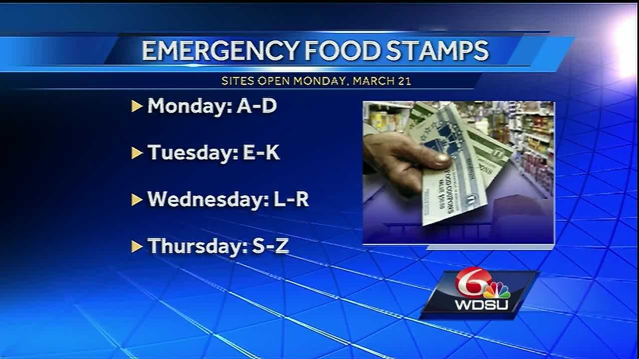 Offices will open Monday in southeast Louisiana to help people apply for emergency food stamps.