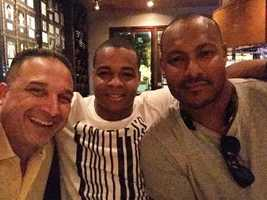 Will Smith pictured with Pierre Thomas and former New Orleans police Commander Billy Ceravolo. The three ate dinner together an hour before Smith was shot and killed.
