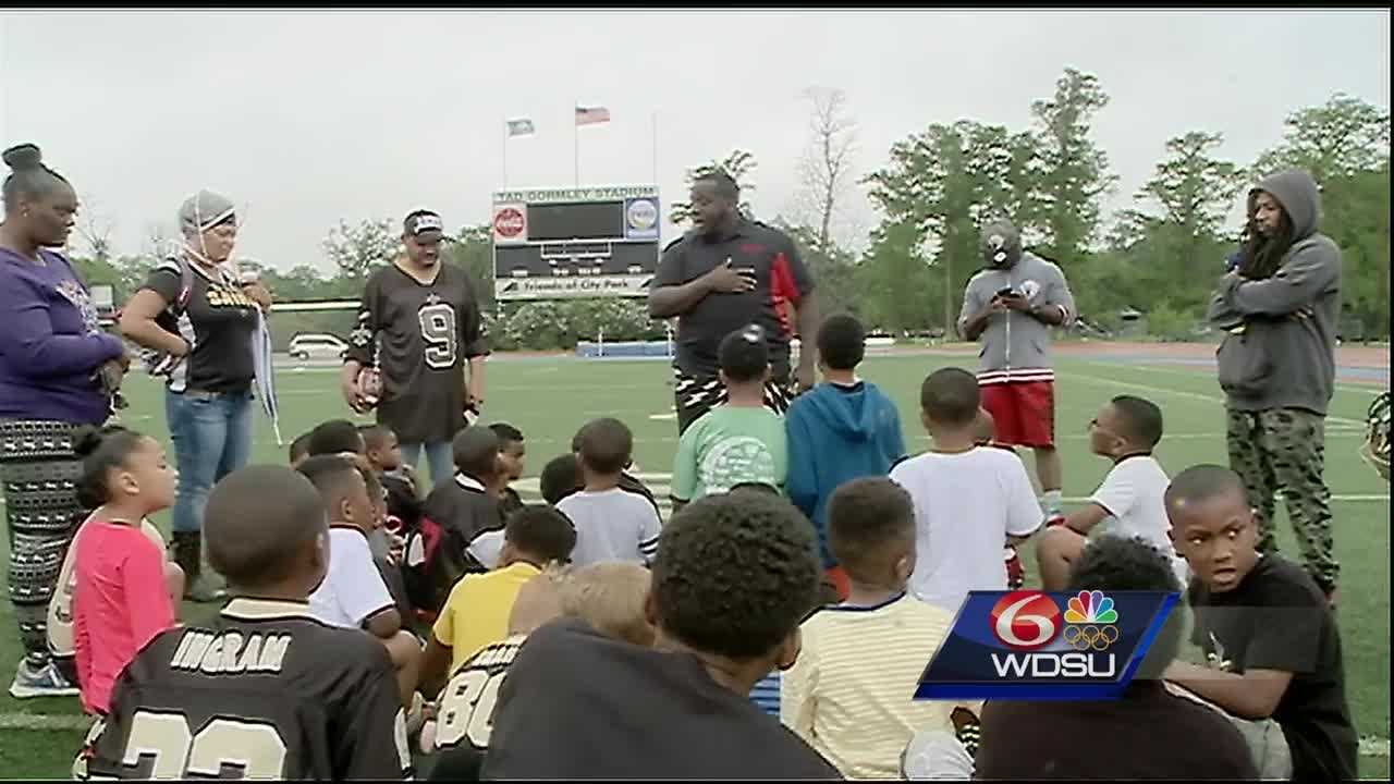 Stopping the violence was the message during a peace rally and mini football camp hosted by Saints player Keenan Lewis on Saturday at City Park.