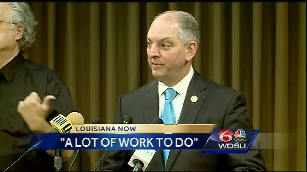 Amid the state's worst budget deficit in history, Gov. John Bel Edwards discussed his first 100 days in office as he continues to work with lawmakers in Baton Rouge.