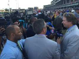 Post race interviews at the Kentucky Derby (photo by Fletcher Mackel).
