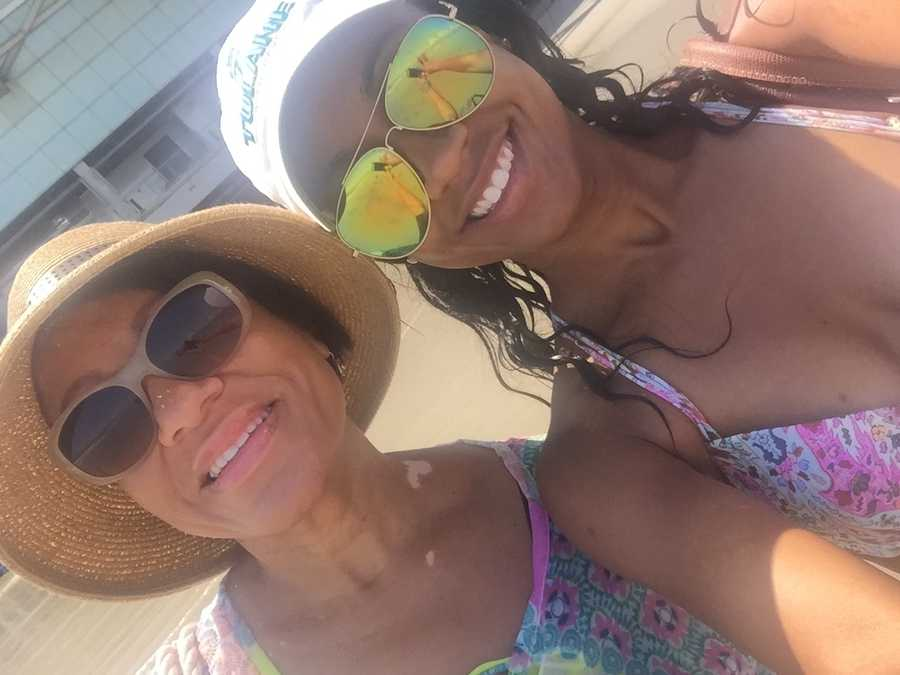 Kelsey Davis and her momma soaking up the sun!