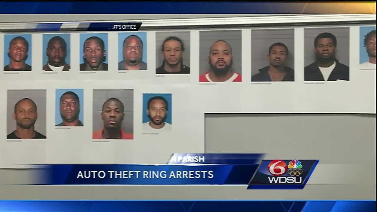 Thirteen men were arrested in connection with an auto theft ring in Jefferson Parish.