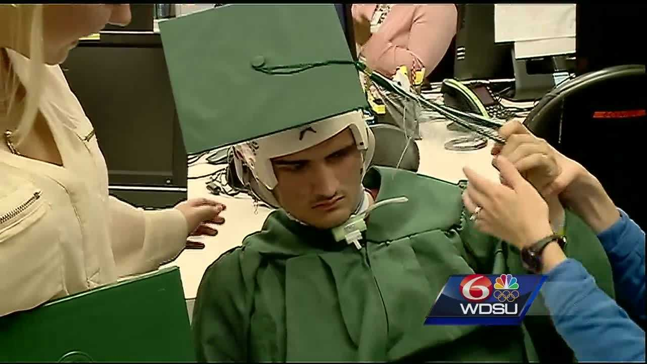 A Morgan City High School senior with a bright future saw his world shatter after a car crash just over a month ago. He has been in the hospital ever since and couldn't attend his graduation in person, but the Children's Hospital staff were able to bring his graduation to him.
