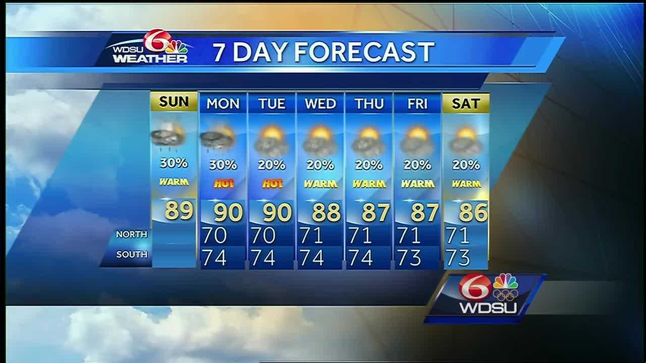 Expect highs in the upper 80s with a 30% chance of rain this afternoon.