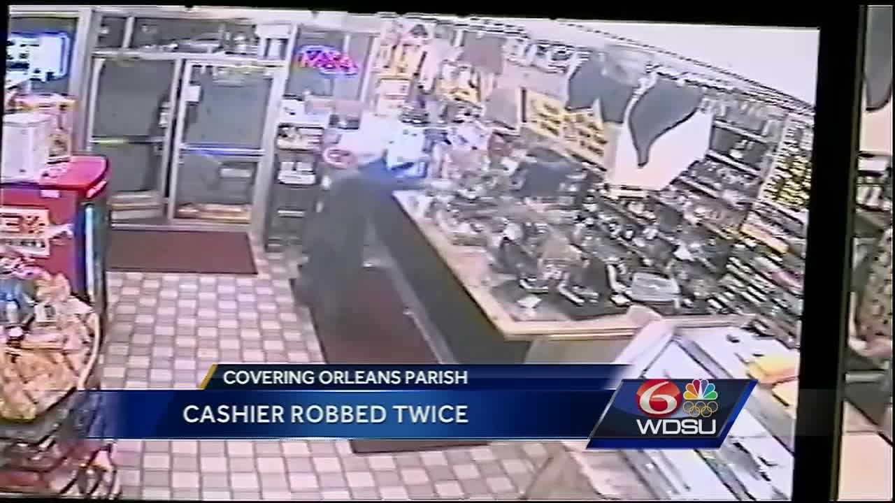 Surveillance video of the two robberies at the Brother's in the Lower Ninth Ward shows a man with a gun come into the store and demanded money from the employee.