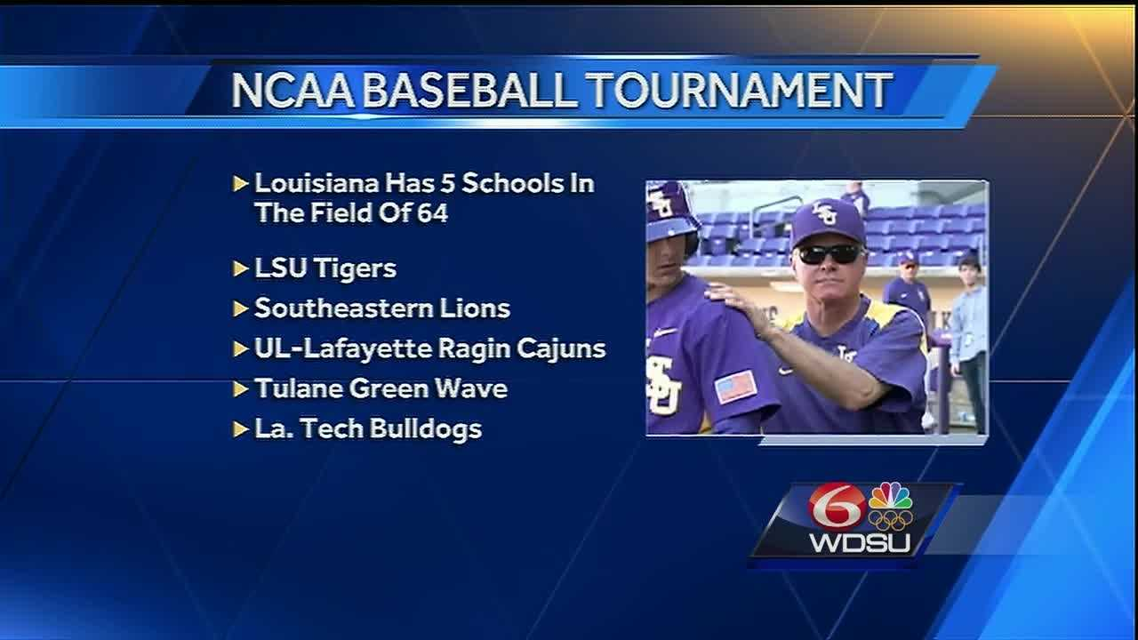 Five teams from the state qualified for the NCAA post-season tournament. In addition to LSU and UL Lafayette, Tulane, Southeastern and Louisiana Tech are in the field of 64.