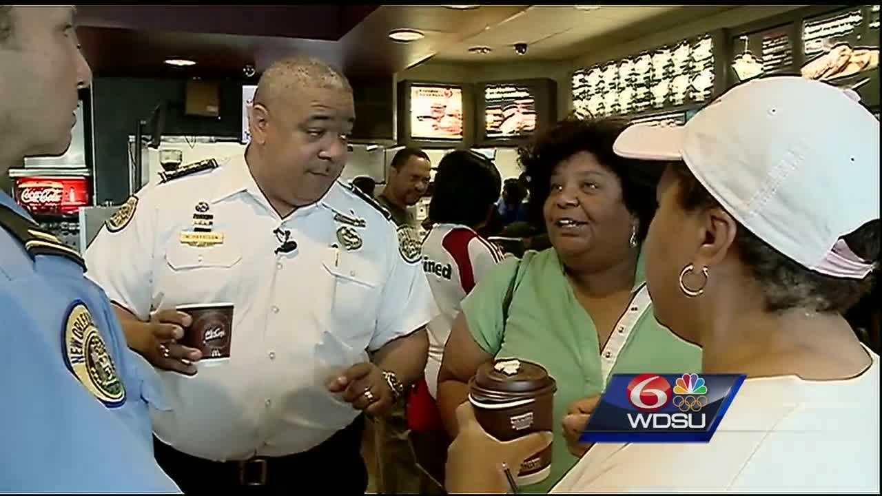 New Orleans police officers filled four local McDonald's restaurants Saturday morning to meet with members of the communities they serve and share a cup of coffee.