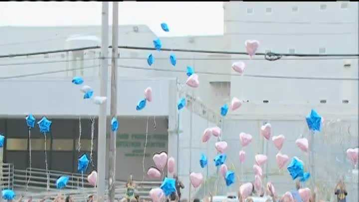 Raw video: Memorial and balloon release for Officer Natasha Hunter