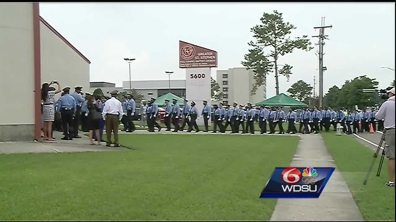 It was a solemn day Monday as hundreds of people went to church to mourn the loss of NOPD Officer Natasha Hunter.