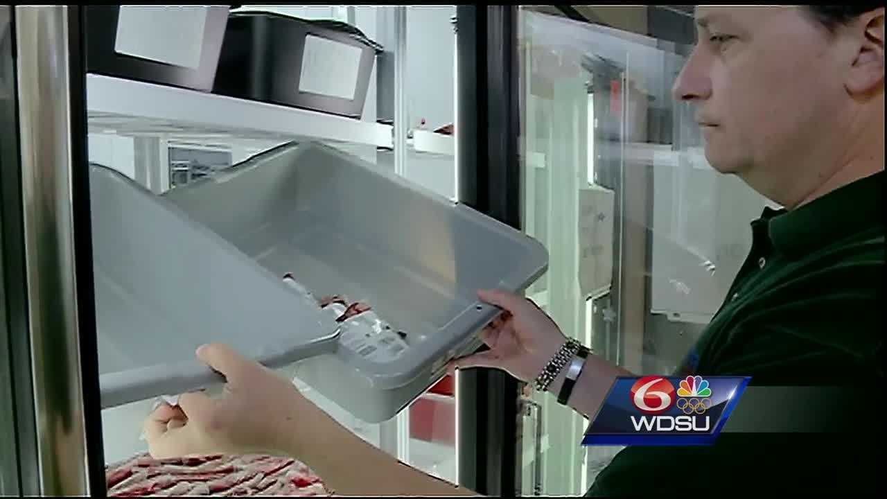 Some of the bins in the coolers at the Blood Center's bank in Mid-City are empty. Officials said they typically keep 3-5 days' worth of blood on hand. There is only enough available for one day.