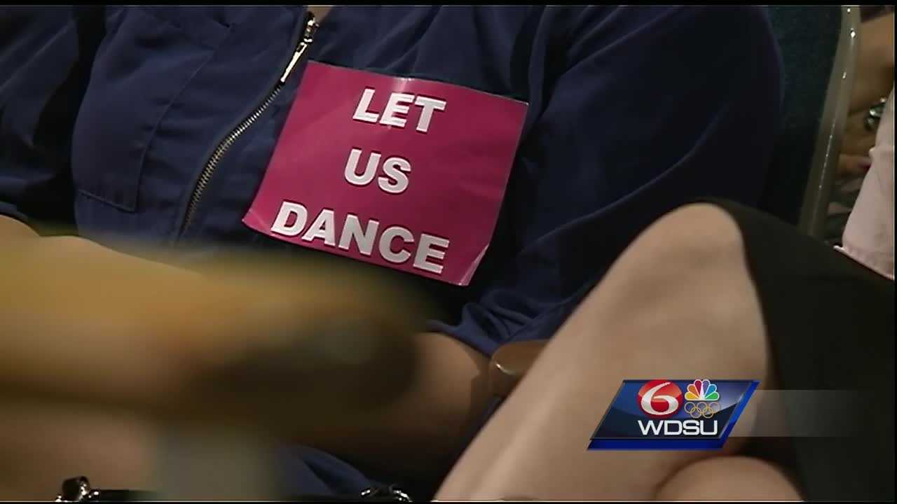 An unusual sight at New Orleans City Hall as dancers packed the city council chamber -- all opposed to a proposal to limit the number of strip clubs in the city.