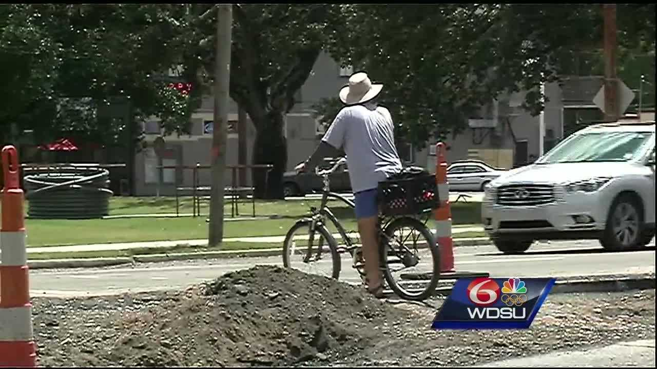 Construction has closed the only protected bike and pedestrian path across Tulane Avenue at Jefferson Davis Parkway.