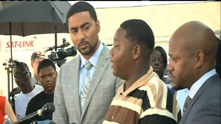 Cameron Sterling, the son of Alton Sterling, who was killed during a struggle with two Baton Rouge police officers, spoke to the media for the first time on Wednesday.