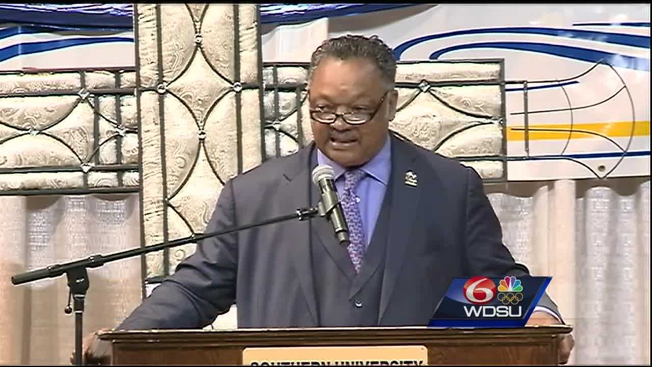 Rev. Jesse Jackson and Rev. Al Sharpton spoke at the funeral for Alton Sterling.