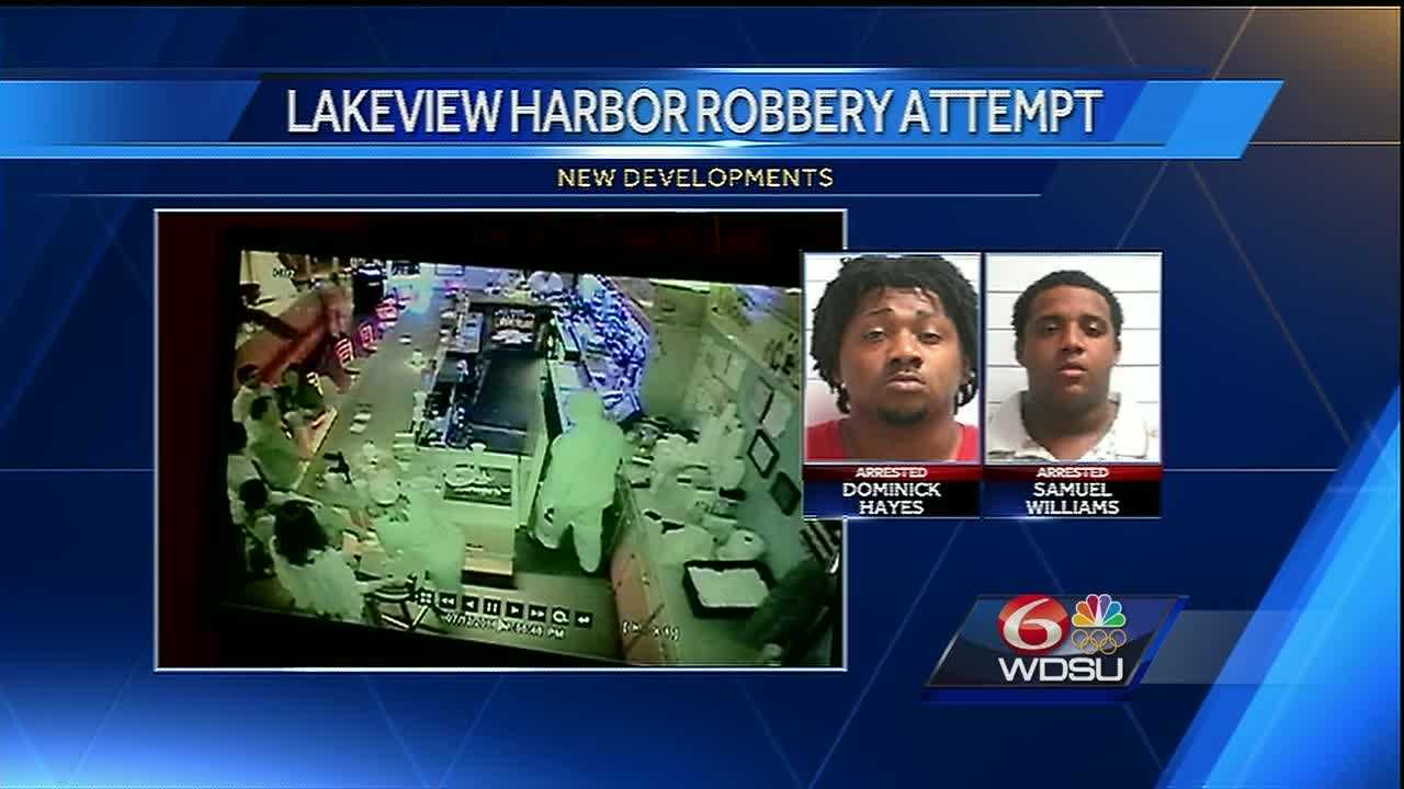 Samuel Williams IV, 20, and Dominick Hayes, 24, were arrested Friday night on charges of attempted armed robbery and attempted murder, officials said.