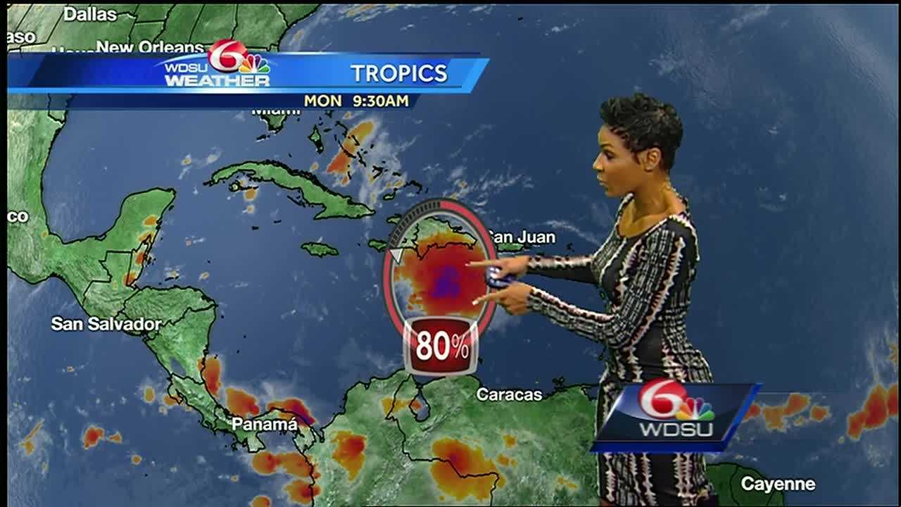 A tropical wave in the Caribbean Sea is much more organized Monday as it continues to move westward. The National Hurricane Center said if development continues, a tropical storm could form sometime Monday afternoon or evening.