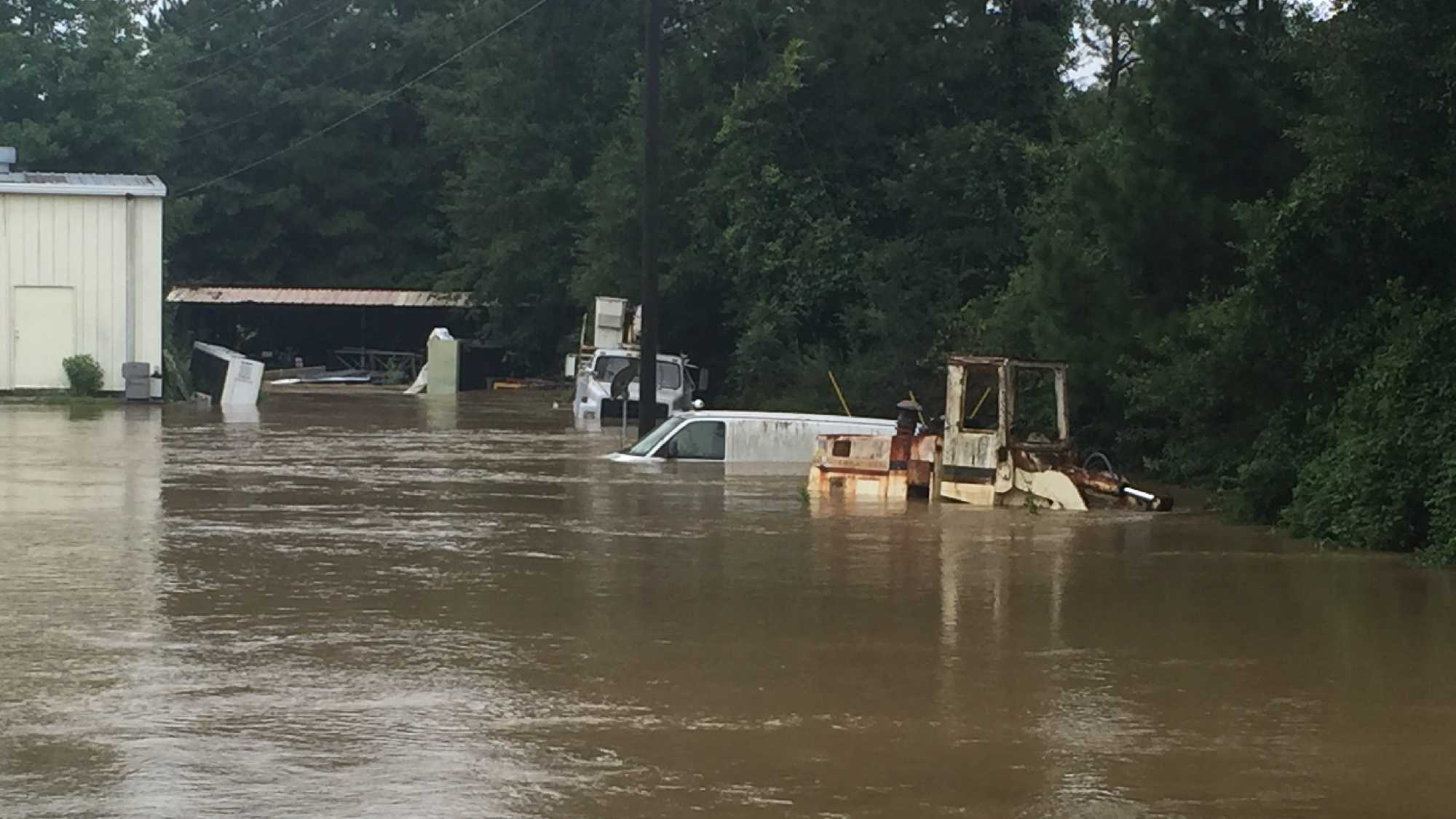 Floodwater rises in Louisiana.