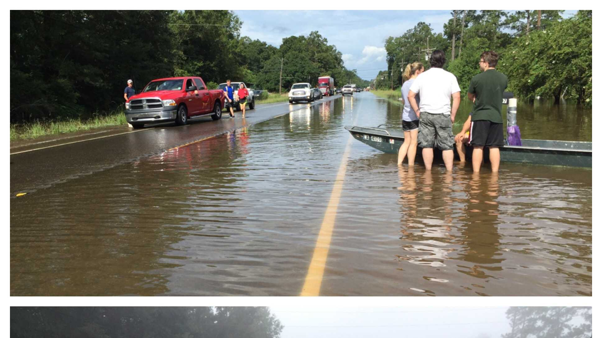 The photo on the top was taken on Sunday (Aug. 14) morning on Highway 22 in Ponchatoula.  The photo on the bottom was taken less than 24 hours later.