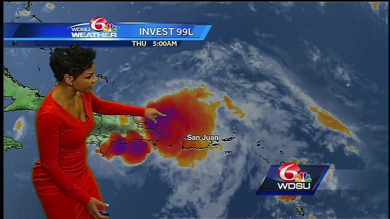 The high pressure ridge will keep it hot and steamy. Storm coverage will be scattered today, with the chance for locally heavy downpours. Gaston is a hurricane and not a bother. Invest 99L remains disorganized, but a feature to monitor.