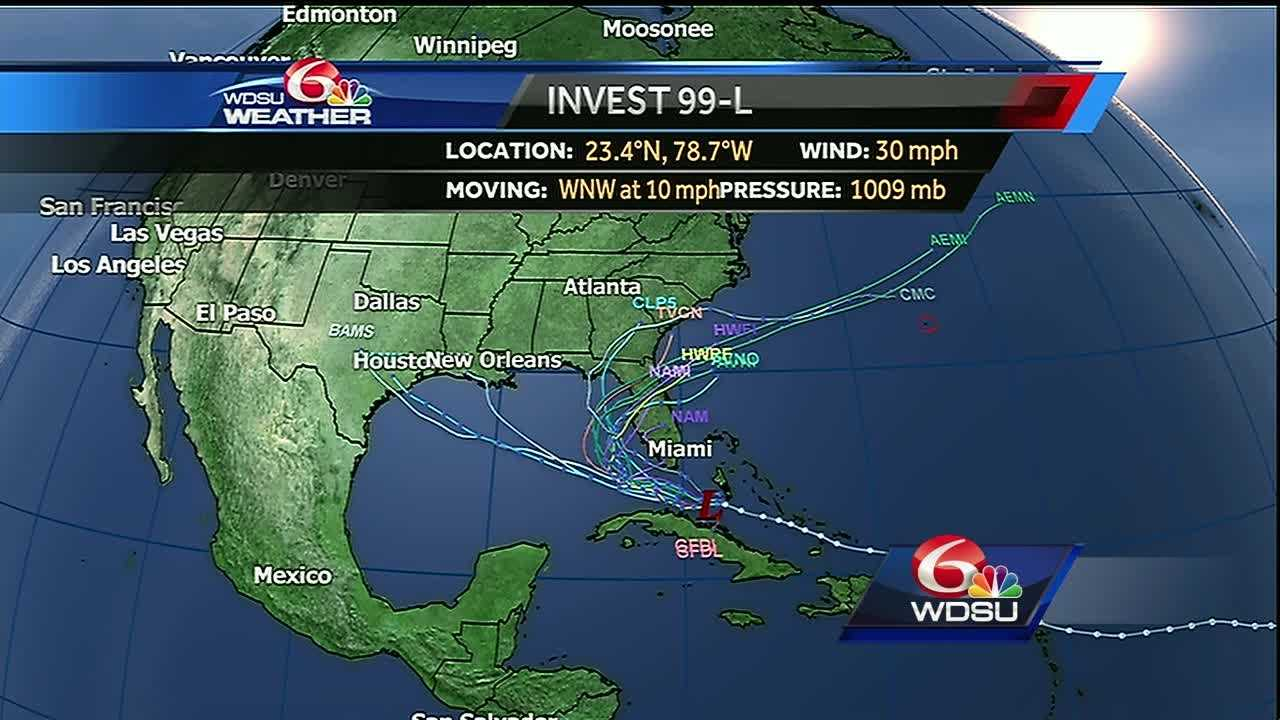 Forecasters at the National Hurricane Center said in an update Saturday that the disturbance has a 50 percent chance of development over the next five days. It has a 40 percent chance of development over the next 48 hours.