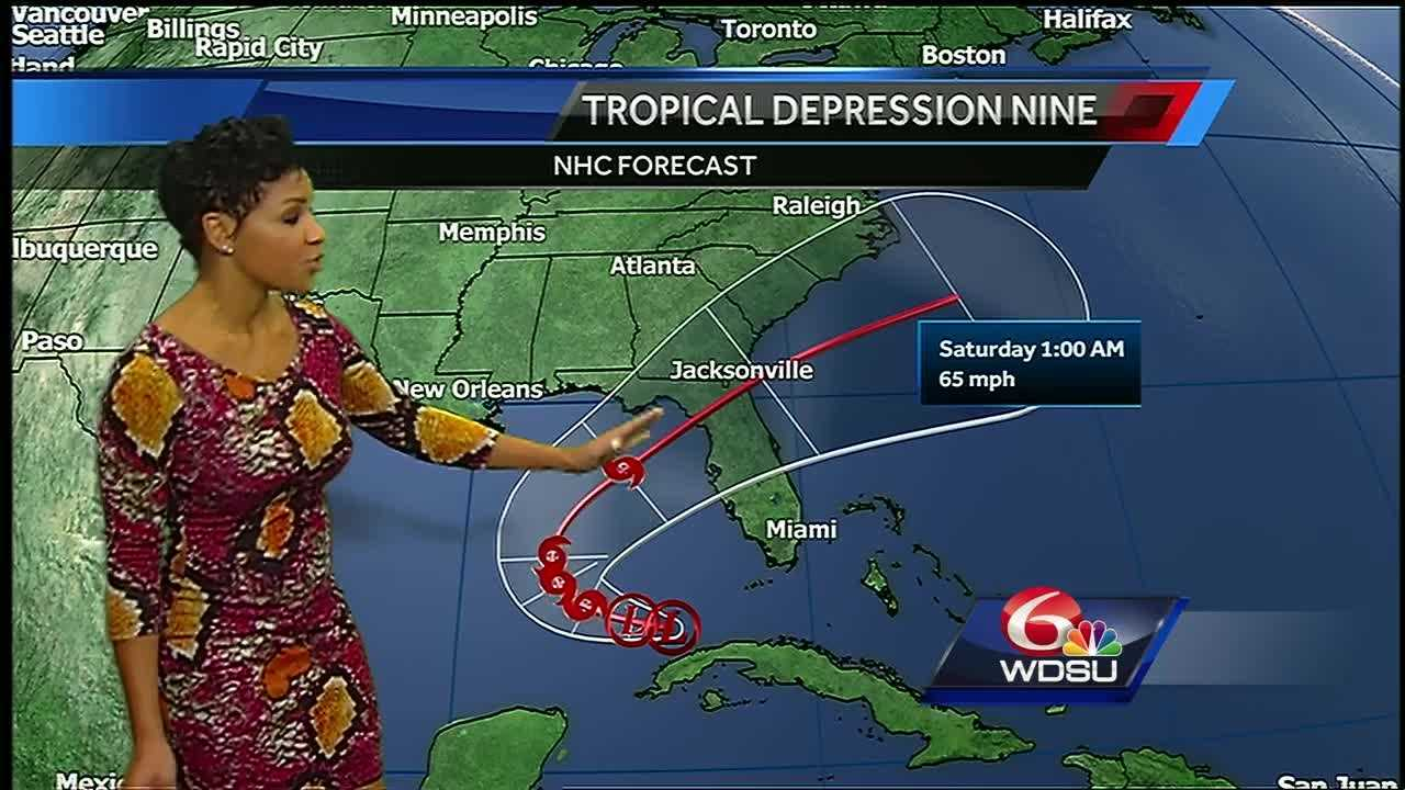 Scattered storms will start the week, but drier conditions will take over starting Tuesday and into the start of the Labor Day weekend. The official forecast track for Tropical Depression turns the system northeast across Florida Thursday. Seas and tides will be elevated through Wednesday for east-facing shores in the WDSU viewing area.
