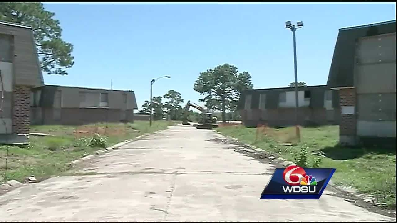 Demolition is underway at the old Versailles Arms Apartments off Dwyer Boulevard in New Orleans East. Developers plan to build 400 units of affordable, mixed-income rental housing. It is a $53 million project that developers say is helping to revitalize that community, but some residents are not happy with the plans.