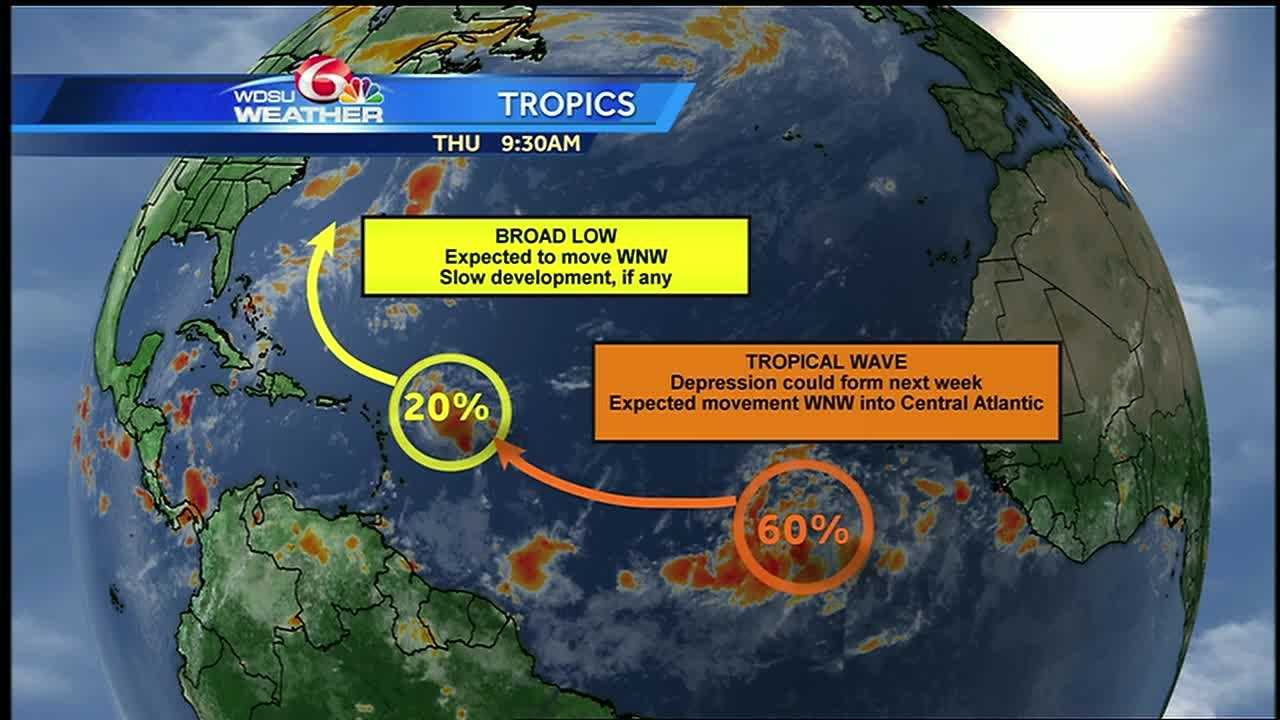 WDSU meteorologist Kweilyn Murphy is monitoring two areas in the Atlantic Ocean with potential for tropical development.