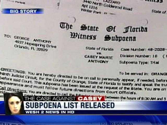 Casey Subpoena List