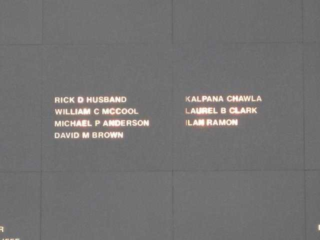 Engraved in 2004, the names of the seven astronauts who were killed in the Columbia disaster in 2003 to the Space Mirror Memorial.