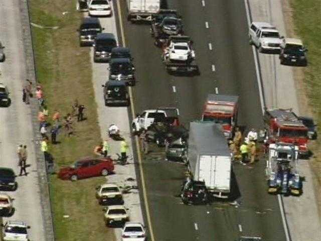 A series of fatal crashes close Interstate 75 near Gainesville on Jan. 29, 2012.