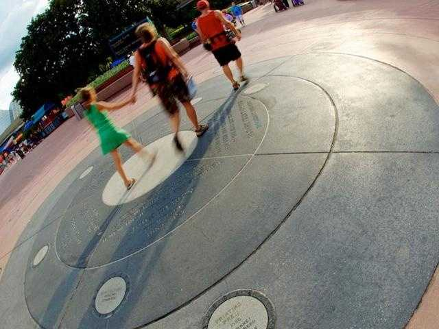 Yes, on the ground. The walkway at Inventor's Circle in the middle of Future World west at Epcot. The 1996 discovery of antimatter joins other scientific achievements in the circle, including the cell and human flight.