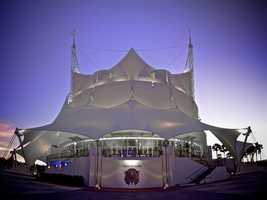 That face is part of the Cirque du Soleil logo on the La Nouba theater in Downtown Disney.