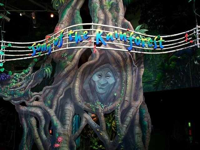 "Those unmistakable eyes belong to Grandmother Willow. The Pocahontas star hosts the ""Song of the Rainforest"" experience, a 3D sound picture of a rainforest habitat at the Animal Kingdom."