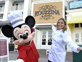 Hats aside, with friends like Cat Cora, Mickey must know his way around the kitchen.