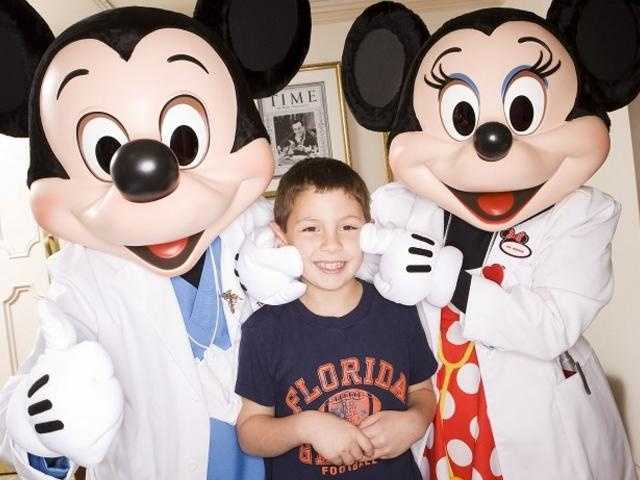 Mickey and Minnie visit patients at Florida Hospital.