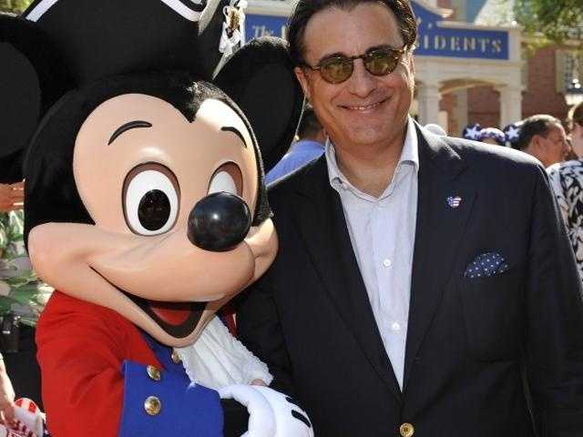 Actor Andy Garcia gets a meet-and-greet with Mickey in a pirate suit.