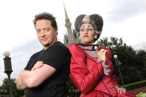 "Actor Brendan Fraser, star of films including ""The Mummy"" and ""The Mummy Returns,"" poses Aug. 8, 2010 with a ""step-mummy,"" aka The Wicked Stepmother from ""Cinderella,"" at the Magic Kingdom in Lake Buena Vista, Fla."