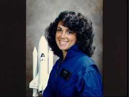 Portrait of Astronaut candidate Judith A. Resnik in blue flight suit.