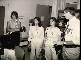 Two Teacher in Space candidates during training at JSC