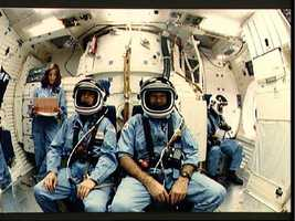 STS 51-L crewmembers during training session in flight deck simulation